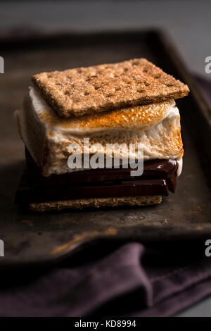 Detail shot of large campfire smore with roasted marshmallow and melty chocolate on a rustic metal surface. - Stock Photo