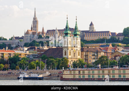St Anne Church on Batthyany Square and Matthias Church on the Castle Hill - Budapest, Hungary - Stock Photo