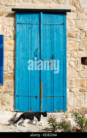 Colourful facade of an arts centre in Kouklia village, Paphos district of Cyprus. - Stock Photo