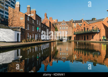 Morning reflections on Gas Street Basin, at the heart of Birmingham's canal network - Stock Photo