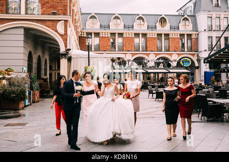 Batumi, Adjara, Georgia - September 7, 2017: Georgian Wedding In Batumi Piazza Square - Stock Photo