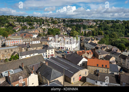 View of the historic town of Richmond in North Yorkshire, England. - Stock Photo
