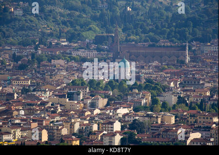 Great Synagogue of Florence (Tempio maggiore israelitico di Firenze) and Gothic Basilica di Santa Croce (Basilica - Stock Photo