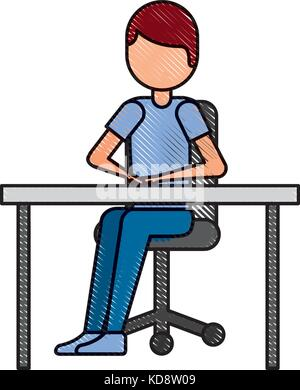 cartoon man sitting on chair with table - Stock Photo