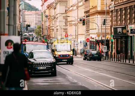 Prague, Czech Republic - September 23, 2017: Moving With Siren Bright Yellow Emergency Ambulance Reanimation Mercedes - Stock Photo