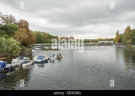 Teddington Weir on the River Thames, Teddington, England, UK - Stock Photo