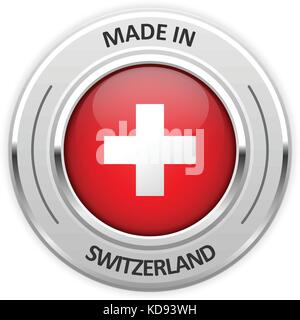 Silver medal Made in Switzerland with flag - Stock Photo