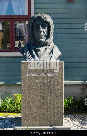 Norwegian explorer Roald Amundsen statue sculpture outside Polarmuseet or Polar Museum. Tromso, Troms county, Norway, - Stock Photo
