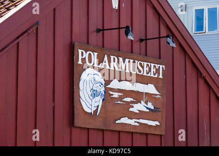 Sign for Polarmuseet or Polar Museum on old wooden building. Tromso, Troms county, Norway, Scandinavia - Stock Photo