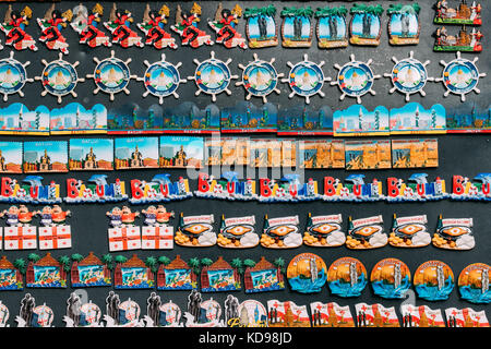 Batumi, Adjara, Georgia - September 7, 2017: Fridge Magnets Souvenirs At Street Market. Funny Souvenir From Batumi, - Stock Photo