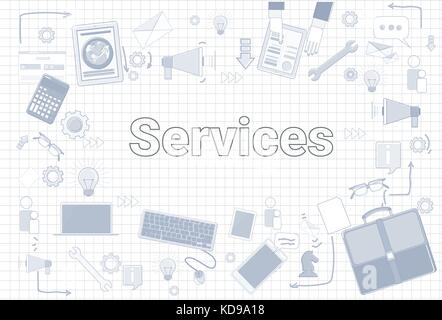 Services Word With Office Stuff Icons On Squared Background Customer Help Satisfaction Concept - Stock Photo