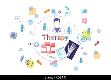 Therapy Healthcare Banner Medical Help, Medicine Treatment Concept - Stock Photo