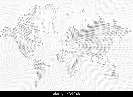 Abstract Dotted Map Black and White Halftone grunge Effect Illustration. World map silhouettes. Continental shapes - Stock Photo