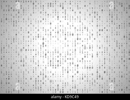 Vector binary code white background. Big data and programming hacking, decryption and encryption, computer streaming - Stock Photo