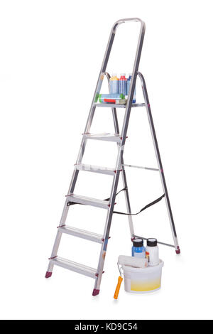 Aluminum ladder and paint tools. Isolated on white - Stock Photo