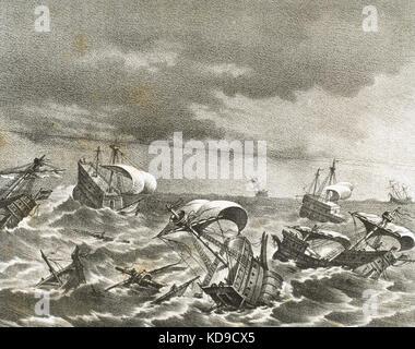Spanish Armada. Spanish fleet sent by Spanish king Philip II (1527-1598) against England in 1588, under the command - Stock Photo
