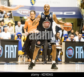 Andre Jones during the  Serie A an Basketball match Fiat Torino Auxilium vs Dinamo Sassari at PalaRuffini. Torino - Stock Photo