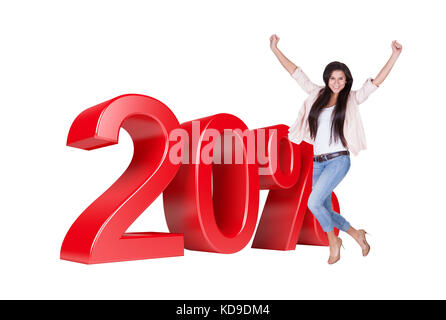 Exited Woman Jumping In Front Of 20% Sale Discount. Isolated On White Background - Stock Photo