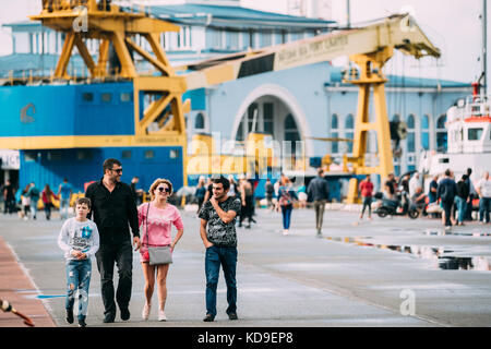 Batumi, Adjara, Georgia - September 7, 2017: People Walking In Port Dock On Summer Evening In Batumi, Adjara, Georgia - Stock Photo
