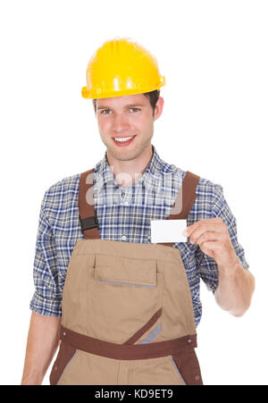 Happy Male Architect Showing Visiting Card Isolated On White Background - Stock Photo