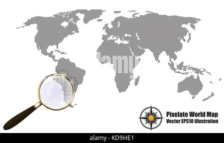 Abstract Pixelated Map Black and White Halftone grunge Effect Vector Illustration. World map silhouette. Continental - Stock Photo