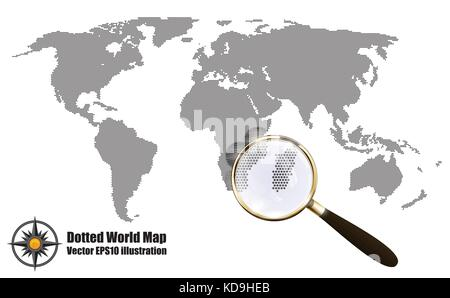 Abstract Dotted Map Black and White Halftone grunge Effect Vector Illustration. World map silhouette. Continental - Stock Photo