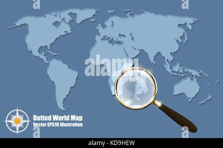 Abstract Dotted Map Blue Halftone grunge Effect Vector Illustration. World map silhouette with shadow. Continental - Stock Photo
