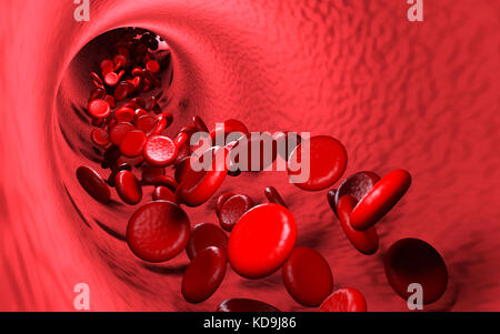 Red cells in blood stream, 3D rendering - Stock Photo