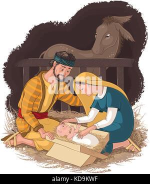 Christmas, nativity scene, Holy Mary, Joseph and Baby ...