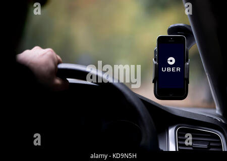 A caucasian man whose face is obscured drives an Uber taxi, and has the company logo on his smartphone which is - Stock Photo