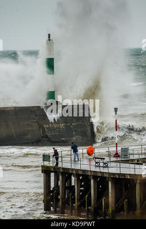 Aberystwyth Wales UK, Wednesday 11 October 2017 UK Weather: Stormy seas and gale force winds strike harbour wall - Stock Photo