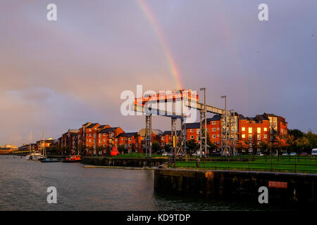 Preston, UK. 11th October 2017. UK Weather. After a wet day in Lancashire, the sun appeared briefly before sunset, - Stock Photo
