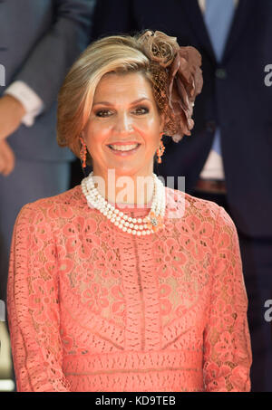 Lisbon, Portugal. 11th Oct, 2017. Queen Máxima of The Netherlands at the University in Lisbon, on October 11, 2017, - Stock Photo