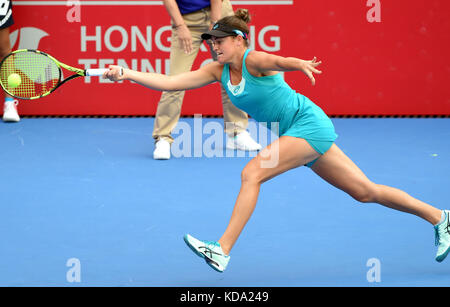 Hong Kong, China. 12th Oct, 2017. Jennifer Brady of the United States hits a return during the singles second round - Stock Photo
