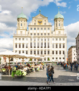 AUGSBURG, GERMANY - AUGUST 19: Tourists at the Rathausplatz in Augsburg, Germany on August 19, 2017. Augsburg is - Stock Photo
