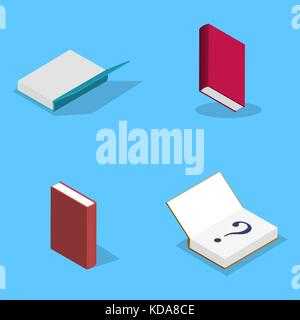 Set of icons, collection of various books isolated on blue background. Elements design of printed materials. Flat - Stock Photo