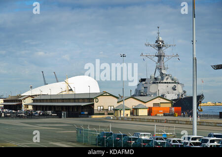 Visiting foreign warships in Port of Fremantle for naval exercises and R&R - Stock Photo