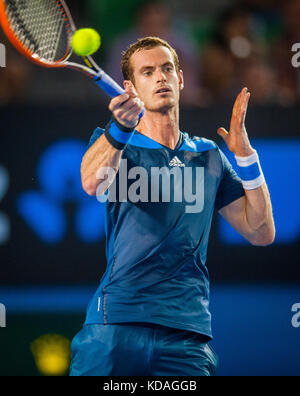 Andy Murray (GBR) won over V. Millot (FRA) 6-2, 6-2, 7-5 in Day 4 play at the 2014 Australian Open in Melbourne. - Stock Photo