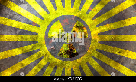Radiation symbol on yellow background. 3d illustration - Stock Photo
