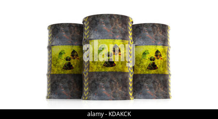Toxic waste concept. Radiation symbol on oil barrels, white background. 3d illustration - Stock Photo