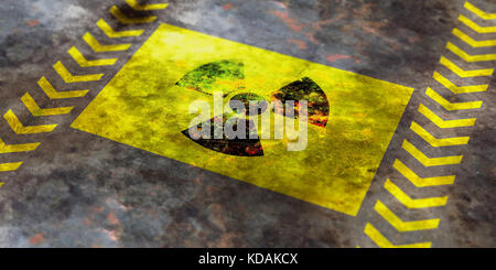 Radiation symbol on yellow background, view from above. 3d illustration - Stock Photo
