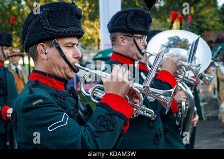 Military Marching Band of the Winchester Rifles at the 2017 Goodwood Revival, Sussex, UK. - Stock Photo
