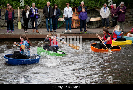 Coracle racing on a UK canal, Welsh borders - Stock Photo