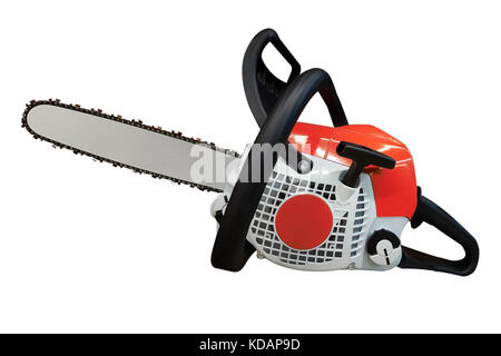 New red petrol chainsaw isolated on white background - Stock Photo