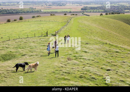 Pewsey Vale, - People walking in Pewsey Vale Wiltshire UK - Stock Photo