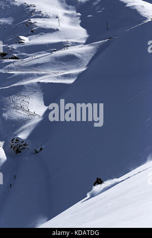 Powder skiing - Stock Photo