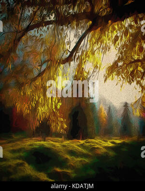 DIGITAL ART: Autumnal Woods near Ohlstadt, Bavaria, Germany - Stock Photo