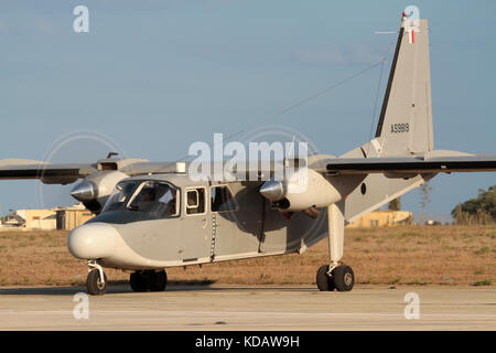 Britten-Norman Islander twin-engined maritime patrol aircraft of the Armed Forces of Malta starting up - Stock Photo