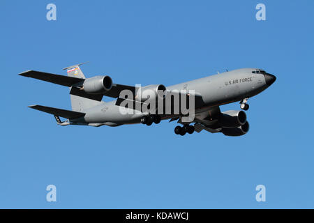 US Air Force KC-135 Stratotanker aerial refuelling aircraft on approach - Stock Photo