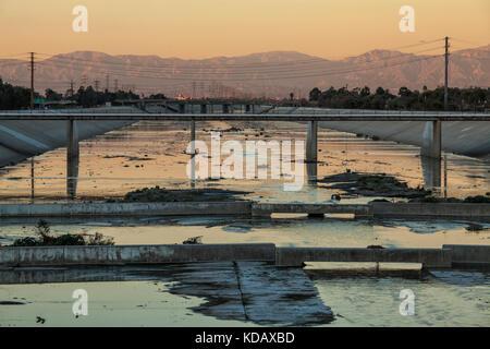 Los Angeles River near WIllow Street, Long Beach, California, USA - Stock Photo